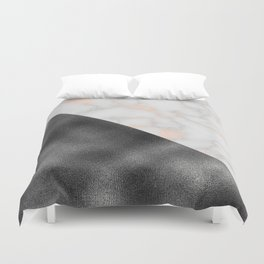 Rose gold marble and gunmetal grey storm Duvet Cover