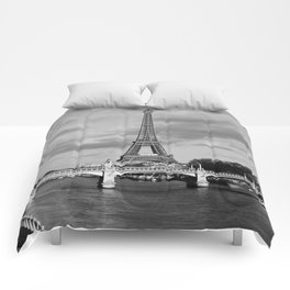Eiffel Tower Black & White Comforters