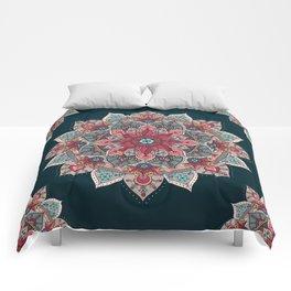 Winter holidays doodles mandala design Comforters