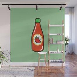 Cute yummy hot sauce Wall Mural