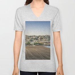 Panorama of Roses town and beach, Costa Brava, Cataluna, Spain Unisex V-Neck
