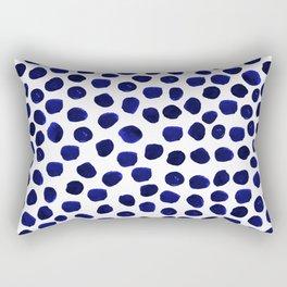 Indigo Spots dots minimal modern abstract painting boho dorm college decor monochromatic nautical Rectangular Pillow