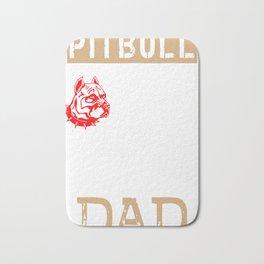 Mens Proud Pitbull Dad red Bath Mat