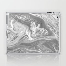 Eiji - spilled ink art marbled paper marbling abstract painting topography nature black and white Laptop & iPad Skin
