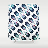 arya Shower Curtains featuring Graphic Pattern - Geometric, Spacey, Angled by Hinal Arya