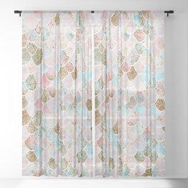 Wonky Watercolor Sea Foam Glitter Mermaid Scales Sheer Curtain