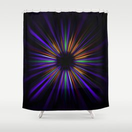 Purple and orange light trails starburst Shower Curtain