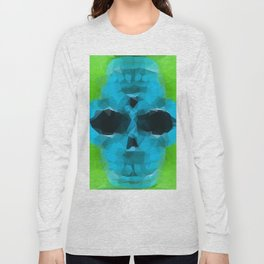 psychedelic skull art geometric triangle abstract pattern in blue and green Long Sleeve T-shirt