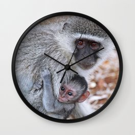 Mom and me, Africa wildlife Wall Clock