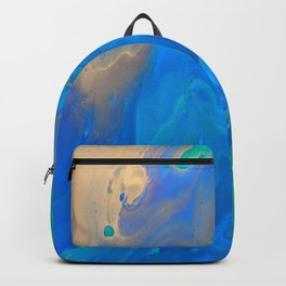 Slow Down Blue II - Bright Blue Green Fluid Painting Backpack