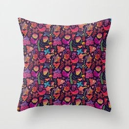 Watercolor birds and flowers Throw Pillow
