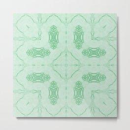Mint Green Ornate Pattern Metal Print