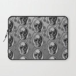 Skulls and Poppies - Antique Vintage Floral Skeleton Pattern Laptop Sleeve