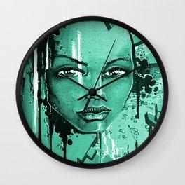 Street Girl turquoise Wall Clock