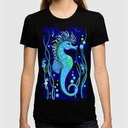 Seahorse cute blue sea animal Vector Seamless Pattern Textile Design T-shirt