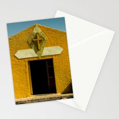 Travel Summer Church Sky Vintage in Mexico - Yellow - Cross Stationery Cards