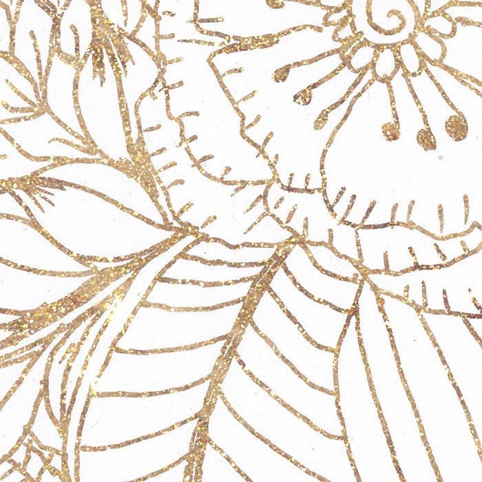 Elegant white faux gold glitter modern floral Leggings