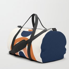 Abstract Shapes 10 in Burnt Orange and Navy Blue Duffle Bag