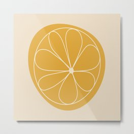 Daisy Line Abstract - Golden Yellow Metal Print