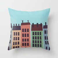 buildings Throw Pillows featuring Buildings by Frostwindz