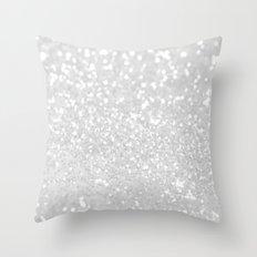 Chic elegant glamour White Faux Glitter  Throw Pillow