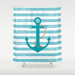 AFE Nautical Teal Ship Anchor Shower Curtain