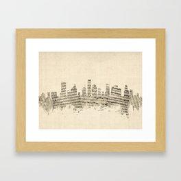 Houston Texas Skyline Sheet Music Cityscape Framed Art Print