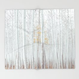 White tree forest Throw Blanket
