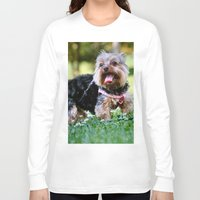yorkie Long Sleeve T-shirts featuring Darling Yorkie by IowaShots