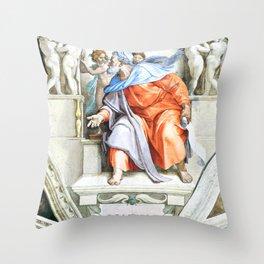 """Michelangelo Buonarroti  """"Prophet Ezekiel"""" Throw Pillow"""