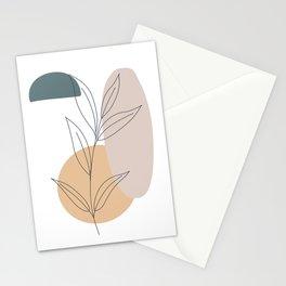 Minimalist Plant Art, Scandi Print, Modern Minimalism, Line Art, Block of Color Stationery Cards
