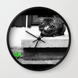 Black and White Cat. Wall Clock