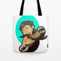 castiel Tote Bags featuring Castiel by oh, wolves