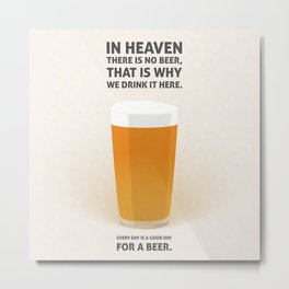 Lager beer illustration quotes Metal Print