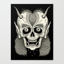 Grinning Skull with Horns Canvas Print