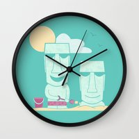 putin Wall Clocks featuring Easter Island Summer Fun by Teo Zirinis