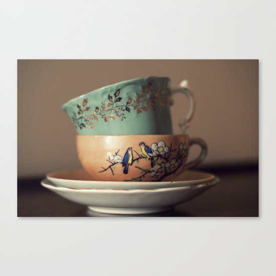 Golden Leaves Teacup Canvas Print