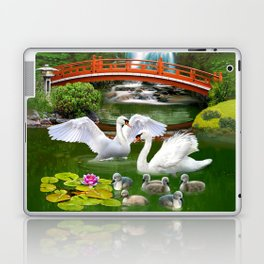 Swans and Baby Cygnets in an Oriental Landscape Laptop & iPad Skin