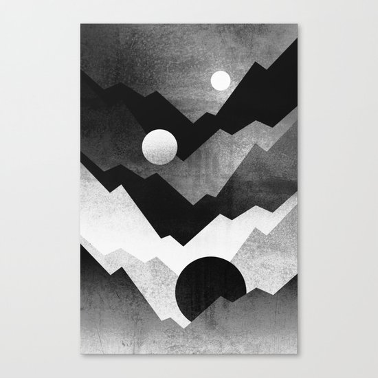 Nightfall / Black & white Canvas Print