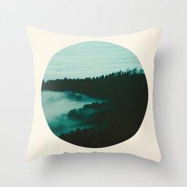 Forest Mountains & Fog Circle Photo Throw Pillow