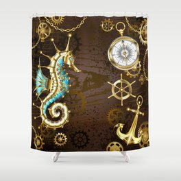 Wooden Background with Mechanical Seahorse ( Steampunk ) Shower Curtain