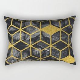 Black Stones Gold Geometric Cubes Pattern Rectangular Pillow