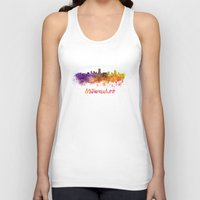 milwaukee Tank Tops featuring Milwaukee skyline in watercolor by Paulrommer