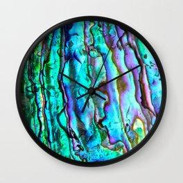 Glowing Aqua Abalone Shell Mother of Pearl Wall Clock