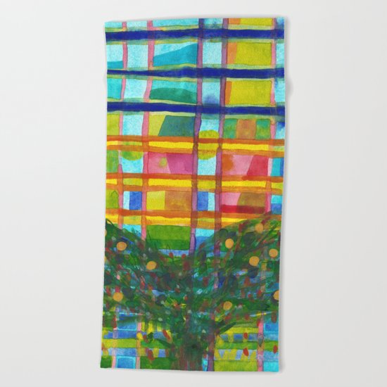 Tree In Front Of A Building Beach Towel