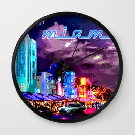 Miami South Beach Art Deco Mixed Media Art Wall Clock