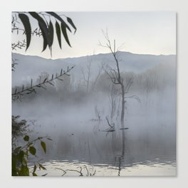 """Dream trees"". Foggy sunrise at the lagoon Canvas Print"
