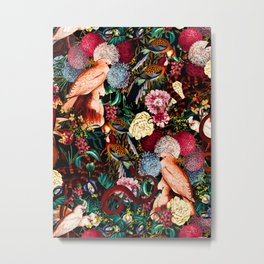 Floral and Animals pattern II Metal Print