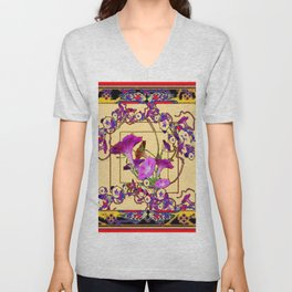 Red Decorative  Blue Purple Vining Flowers Patterns  Art Unisex V-Neck
