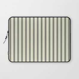Mattress Ticking Wide Striped Pattern in Dark Black and Beige Laptop Sleeve